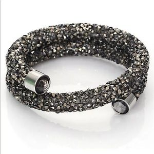 Black Swarovski Crystal Dust Bangle Wrap Bracelet